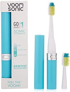 Voom Sonic Go 1 Series Rechargeable Battery-Operated Electric Toothbrush | Dentist Recommended | Portable Oral Care | 2 Minute Timer | Light Weight Design | Soft Dupont Nylon Bristles, Hawaiian Blue