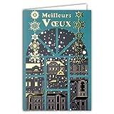 Carte avec enveloppe - Meilleurs Vœux - Flocons Fenêtre Maisons Ville Village Bleu Canard Nuit Or Doré Dorure