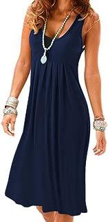 Women Casual Summer Vest Dresses Loose Cotton Sleeveless Pleated Fashion Plain