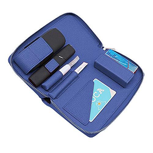 アイコス3 アイコス3マルチ ケース 両方入る 新型 IQOS3 IQOS3MULTI 専用ケース レザー サイフ型 革 カード入れ 本体 ヒートスティック 全部収納 ホルダー IQOS3&IQOS3MULTI 兼用 多機能ケース (ブルー)