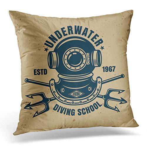 Awowee Funda de cojín de 45 x 45 cm con emblema de la escuela de buceo subacuático o en estilo vintage para cascos de buzo profundos, decoración del hogar, funda de cojín para sofá y cama, poliéster, 18'x 18'