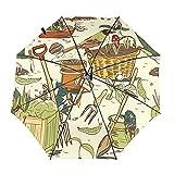 Herramientas de jardín dibujadas a mano pájaros viaje paraguas plegable portátil compacto ligero diseño automático y alta resistencia al viento
