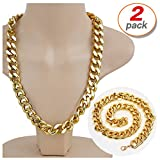2 Pack Hip Hop Chain Necklace Rapper Gold Costume Necklace Jewelry Rapper Necklace, Long 24 inches, Wide 20mm