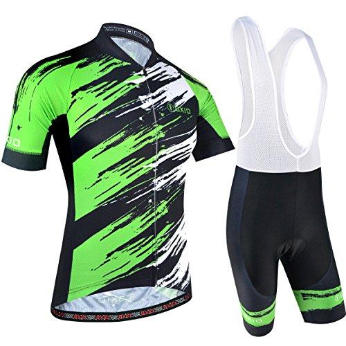BXIO Abbigliamento Sportivo per Bicicletta, Maglia Ciclismo Maniche Corte con Pantaloncini Abbigliamento per MTB Ciclista, Nero con Verde, XL