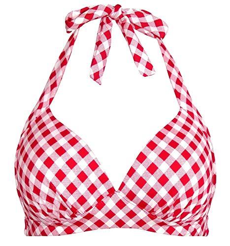 Balasami Women's Retro 50s Plaid Pattern Polka Dot Halter Molded Soft Pads Vintage Bikini Swimsuits Tops