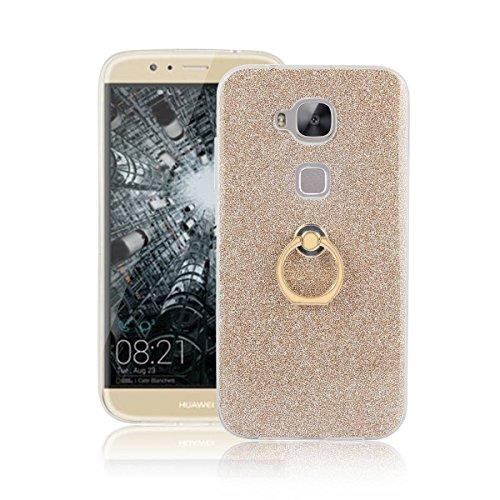 pinlu® Etui Schutzhülle Für Huawei G8 / GX8 Soft Silikon TPU Ultra Thin Protective Cover Glitzer Rück mit Abnehmbarer Boden Skin & Ring-Schnalle Design Gold