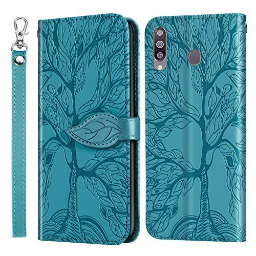 iHülle Neue Handytasche für Samsung Galaxy A8s Handyhülle Phone Hülle PU Lederhülle Geprägter Reliefbaum Brieftasche Book Style Etui Schutzhülle Kartenfach Flip Tasche für Samsung A8s,Blau