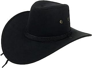 2e63f79b859a9 UwantC Mens Faux Felt Western Cowboy Hat Fedora Outdoor Wide Brim Hat with  Strap