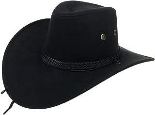 Mens Faux Felt Western Cowboy Hat Fedora Outdoor Wide Brim Hat with Strap
