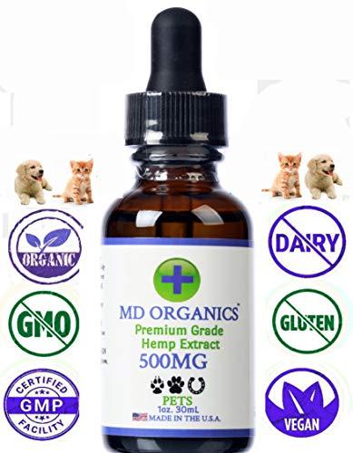 500mg MD Organics Pet Cáñamo puro Aceite para mascotas Perro Gato Ca
