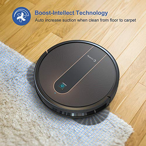 Coredy R750 Robot Vacuum Cleaner, Compatible with Alexa, Mopping System, Boost Intellect, Virtual Boundary Supported, 2000Pa Suction, Super-Thin, Upgraded Robotic Vacuums, Cleans Hard Floor to Carpet