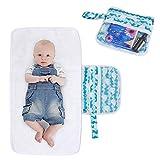 Luxja Wickelunterlage für Unterwegs, Tragbare Wickelunterlage, Windel Matte mit Taschen für Babys und Kleinkinder, Wickelauflage für Haus Reise Unterwegs, Faltbar Waschbar (Wal)