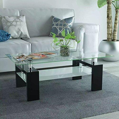 binzhoueushopping Table de Centre avec étagère inférieure 110 x 60 x 40 cm Noire, Multifonctionnel Table
