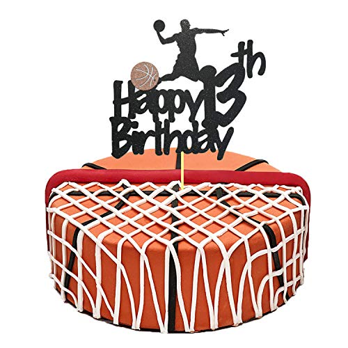 Basketball Cake Topper, Glittery Happy 13th Birthday Basketball Cake Toppers for 13 Year Old Boy and Kids Basketball Scene Themed Birthday Decorations Basketball Fans Party Favors