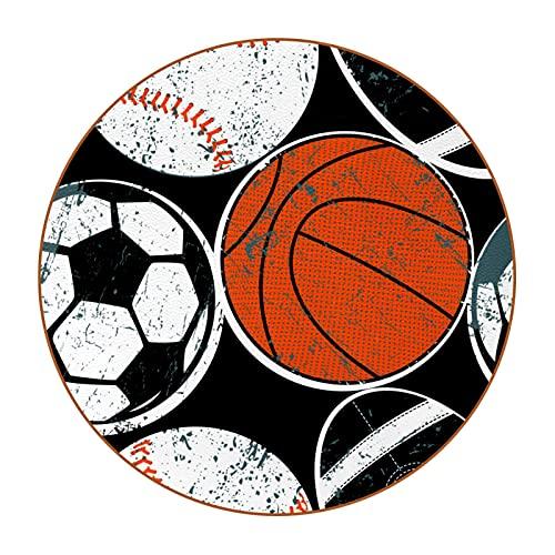 Bennigiry Juego de 6 posavasos redondos de balones de fútbol, béisbol, baloncesto y posavasos para tazas de bebidas