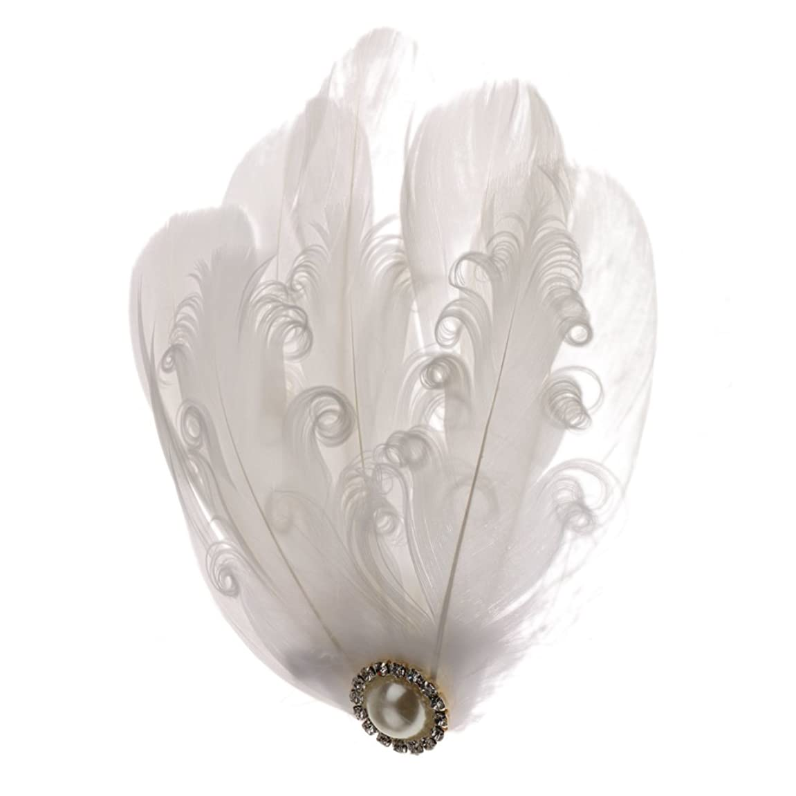 微生物頑丈アコードPrettyia 髪飾り ホワイト フェザー ヘアクリップ ふわふわ  羽根 結婚式 花嫁 装飾 インテリア パーティー ウェディング 髪用