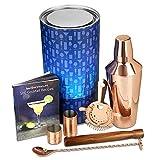 bar@drinkstuff Kit Cocktail Barman Manhattan Premium con Finitura Rame, Contiene Un Libro Cocktail, Cucchiaio contorto, Due Dispenser per la Scuola, Shaker (750 ml), pestello, colino