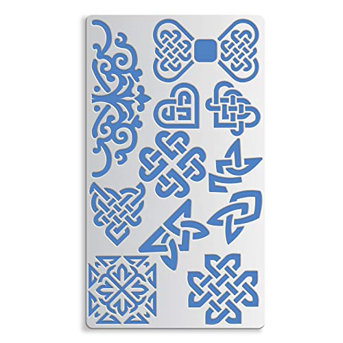 BENECREAT 4x7 Inch Metal Journal Stencil, Heart/Bow/Square Celtic Knot, Floral Stencil Template for Wood carving, Drawings and Woodburning, Engraving and Scrapbooking Project