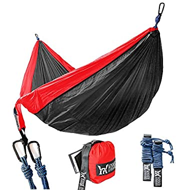 Winner Outfitters Double Camping Hammock - Lightweight Nylon Portable Hammock, Best Parachute Double Hammock For Backpacking, Camping, Travel, Beach, Yard. 118 (L) x 78 (W) Red/Charcoal