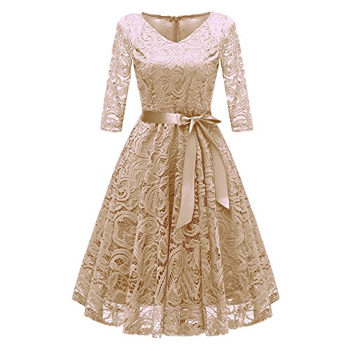 YWLINK Damen Elegant V Ausschnitt Spitzenkleid Abendkleider Partykleid Klassisch Cocktailkleid Ballkleid Lang Brautjungfern Kleid Vintage Festlich Party Aline Swing Kleid(XL,Khaki)