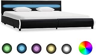 Festnight Cadre de Lit Sommier à Lattes   Lit en Bois Design Cadre de lit   Cadre de lit avec LED Noir Similicuir 180 x 20...