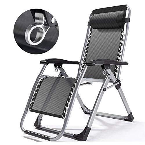 PAKUES-QO Tumbonas y sillones reclinables de jardín Plegables Cama de Muebles de Interior con Cerradura de Metal Tumbona Silla Ajustable para la Piscina de la Playa y al Aire Libre (Color: Gris)