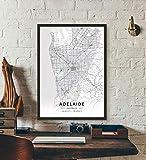 ZWXDMY Leinwand Bild,Australien Adelaide Stadtplan Schwarze