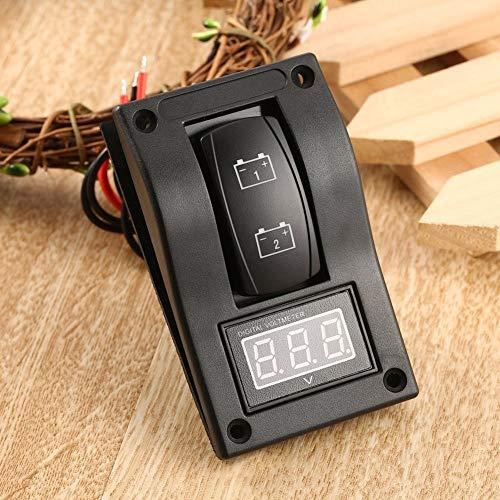 CAIZHIXIANG Interruptor Panel de 12V LED Dual Digtal voltímetro de Pruebas de batería basculante for la Motocicleta del Coche del Barco del Carro a Prueba de Agua