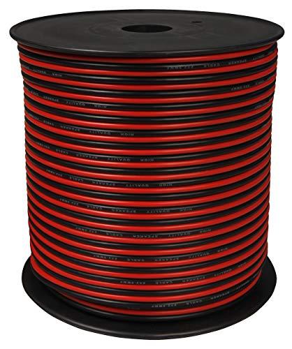 toolcity Cable de Altavoz (Zwilling Litz) 2x 2,50mm² (Box Cable/Cable de Audio) 100m Rojo/Negro