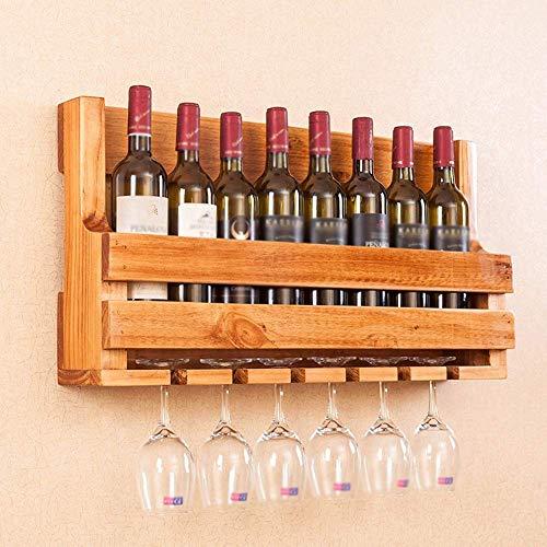 WANNA.ME Estante de Vino Colgante, portavasos de Estante de Vino, Estante de Vino de Madera Maciza montado en la Pared Estante de Copa Adecuado para Estante de Copa de Vino de Comedor (Color: A)