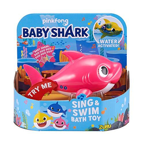 ZURU ROBO ALIVE JUNIOR- Mommy Shark - Juguete de baño para Nadar y Cantar a batería, por ZURU, Color Rosa (25282D)