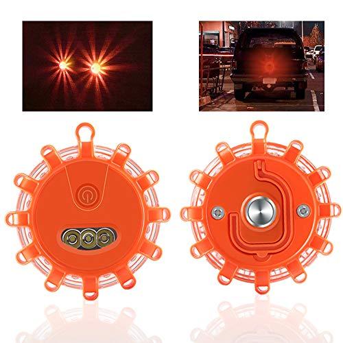 Sidaqi 2Pack LED Luz de seguridad vial Advertencia de carretera Luces intermitentes Disco de emergencia Baliza para barco marino