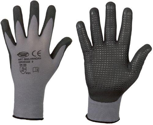 UD-Technik stronghand Handan Nylon-Strick-Handschuhe - EN388 CE Cat 2 - benoppt - grau - Gr. 10