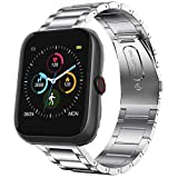 Compatible with Virmee VT3 Plus Bands, YOUkei Stainless Steel Metal Replacement Strap Bracelet Compatible with Virmee VT3 Plus Smartwatch (Silver)