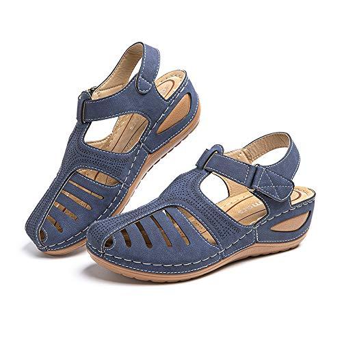 Sandalias Mujer Verano Cuña Cómodos Mules Zuecos Casual Retro Wedge Zapatos de Playa Zapatillas de Vestir Talón 5cm Azul Número 38 EU