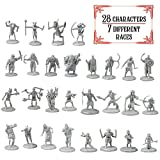DnD Miniatures- 28 Mini Figures - All Unique Designs - 1' Hex-sized for D&D Dungeons and Dragons, Pathfinder, and All RPG Tabletop Games- Features Goblins, Orcs, Gnolls, Skeletons & More