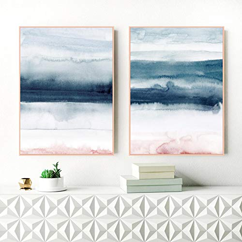 konkneleuh Blue Blush Pink Watercolor Painting Canvas Prints Modern Abstract Posters Nordic Style Wall Art Pictures Living Room Decor 50x70cm-2pcs Frameless