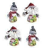 Botella de Almacenamiento de Navidad para rellenar Golosinas Chuches Galletas Caramelos Monedas y Regalos de Niño, Frascos de PlásticoTarro de Dulces Navideños para Decoración de Fiesta, 4 Unidades