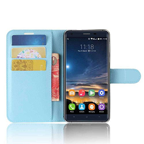 Tasche für Oukitel K6000 Pro Hülle, Ycloud PU Kunstleder Ledertasche Flip Cover Wallet Case Handyhülle mit Stand Function Credit Card Slots Bookstyle Purse Design blau