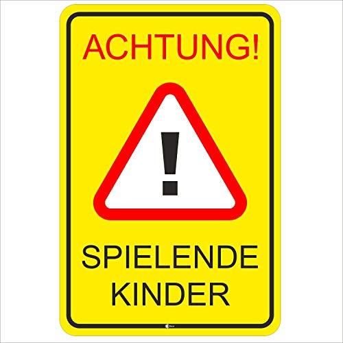 Hinweis-Schild Achtung spielende Kinder I Größe 40 x 60 cm I Straßen-Warnschild Spielstraße Spielplatz I Vorsicht Kids langsam fahren I hin_401