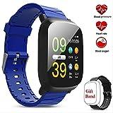 No brand Pressione Intelligente watchSmart inseguitore della vigilanza di attività con cardiofrequenzimetro sanguigna Monitor Fitness Tracker Compatibile for iOS/Android (Color : Blue)