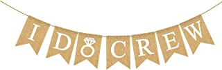 Rainlemon Jute Burlap I Do Crew Banner with Ring Bacheloratte Bridal Shower Wedding Shower Party Rustic Garland Decoration