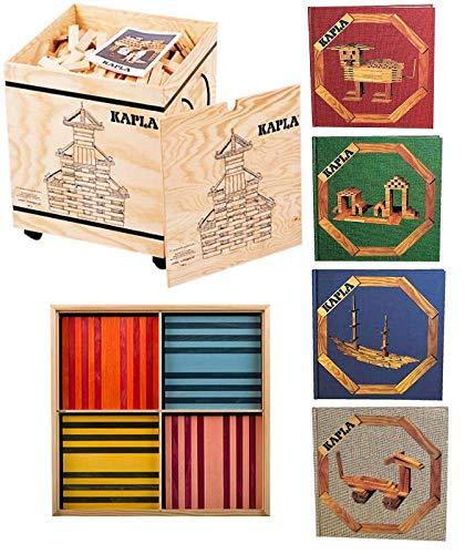 Kapla 1000 Holzkiste + Kapla Octocolor (100 Stück) + 4 x Kunstbuch