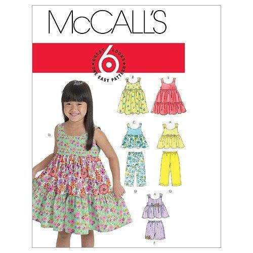 McCalls Patterns M6017 småbarn/barntoppar, klänningar, shorts och byxor CF (4-5-6) Vitt