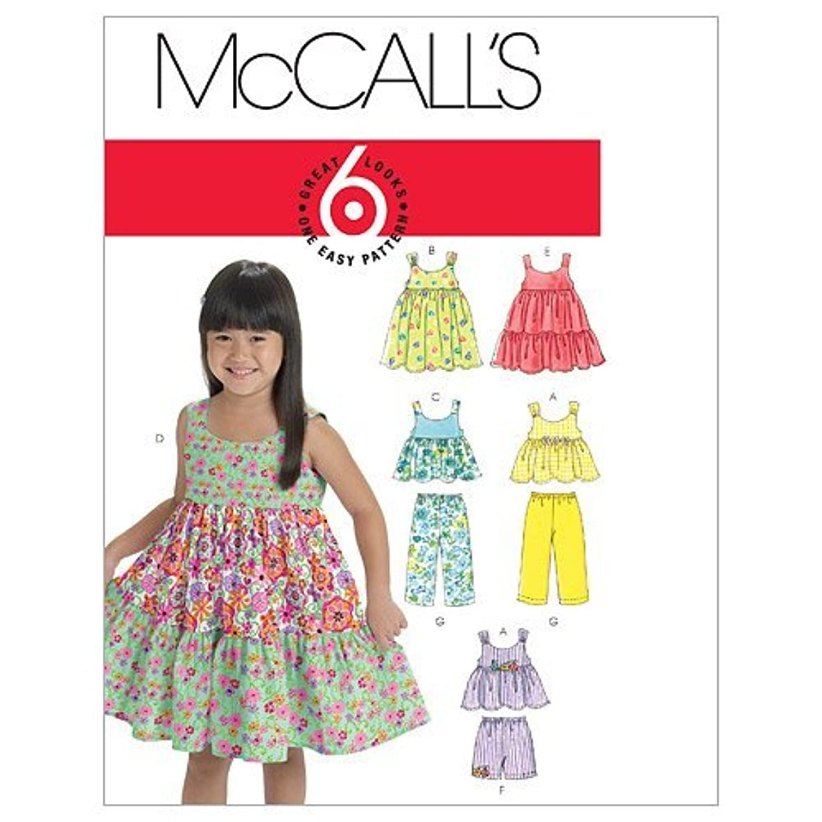 McCall's Patterns M6017 Toddlers'/Children's Tops, Dresses, Shorts and Pants, Size CF (4-5-6)