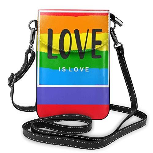Liebe ist Liebe Inspirational Gay Pride Poster Kleine Crossbody-Handyhülle Geldbörsen Taschen Leder Nette Tasche für Frauen