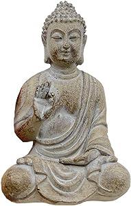 Home Decor Small Buddha Statue Decorative Sitting Buddha Mini Size/Thai/Asia Garden (Grey)
