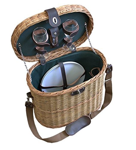 Red Hamper Wicker Willow Ramblers Fitted Picnic Basket