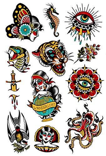 Tatsy Juego vintage, tatuaje temporal para hombres y mujeres, impermeable, fabricado en Eruope tatuajes, daga clásica, wanderlust, tigre, caballito de mar, set de firma diseñado por Pro Erika Tóth