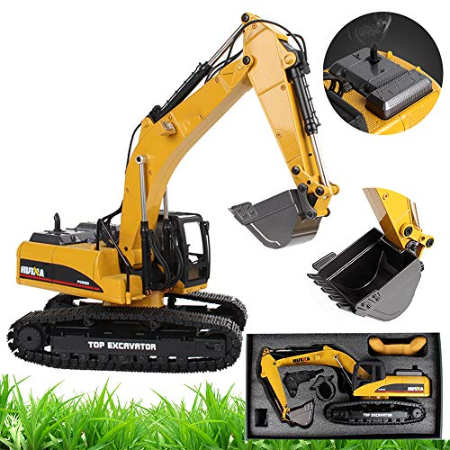 WYB Professional Remote Control Excavator, 1:14 Electric Toy Alloy Remote Control Construction Truck with 23 Channels, RC Hydraulic Loader 2.4Ghz Excavator
